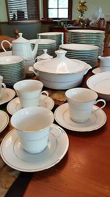 100+ piece White, Gold-edged China Crockery Set: 10+ Settings & Serving Dishes