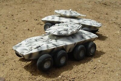2x 28mm 8 wheeled turreted armoured cars for near-future wargaming Stargrunt etc