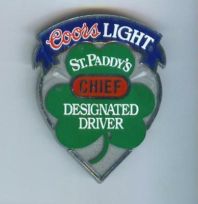 Original 1990s COORS LIGHT St. Paddy's Designated Driver Pinback BUTTON CHIEF