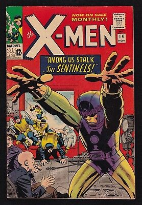 THE X-MEN #14 (Marvel 11/1965) 1st Appearance THE SENTINELS! Stan Lee FN- 5.5
