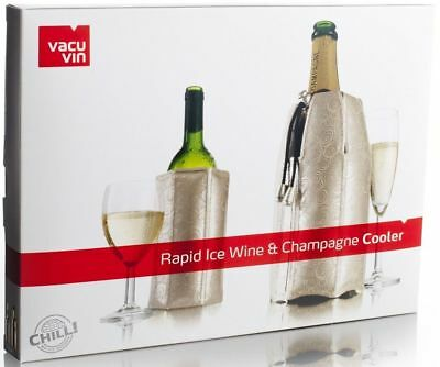 NEW Vacu Vin Rapid Ice Wine Cooler Silver Sleeve Chills Bottle in 5mins SET OF 2