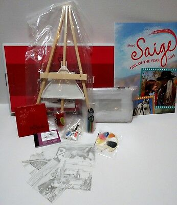 American Girl 2013 GOTY Saige's Painting Set BNIB,COMPLETE,RET+promo storePOSTER