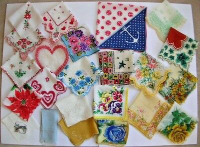 lot of 23 vintage handkerchiefs for craft use floral & holiday hankies
