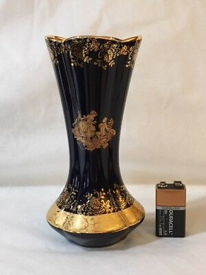 Limoges Exquisite Imperial Cobalt Blue and Gold Vase # 5247