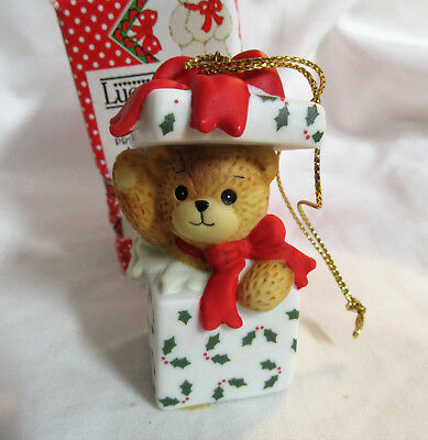 Lucy & Me ~ Teddy Bear inside Gift Present ~ Ornament Figurine Orig, Box