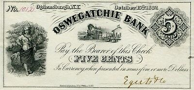 Civil War Emergency Banknote Oswegatchie Bank Ogdensburgh NY 5 cent Oct 15 1862