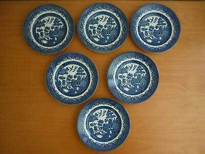 Set Of 6 Vintage Churchill England Blue Willow Bread & Butter Side Plates