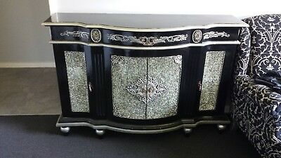 Sideboard timber black and silver with mosaic mirror feature