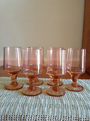 Set of 6 Pink Sherry Wine Liqueur Glasses