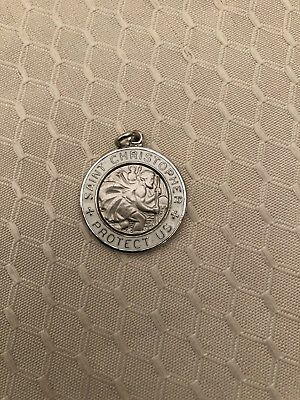 Sterling Silver Enameled St. Christopher Medal 1.25 inches