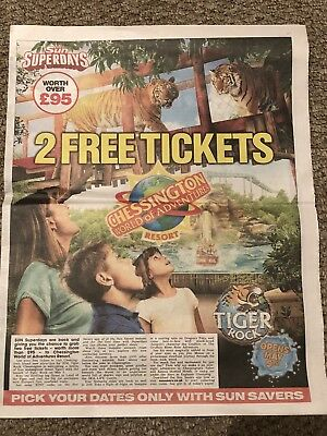 2 X Free Chessington World Of Adventure Tickets, Booking Form + 10 Tokens