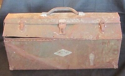 Antique Vintage Old Primitive SK Tools Metal Tool Box Rustic Carrier w/ Handle!