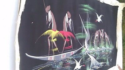 TWO Vintage AFRICAN Tribal Art PAINTINGS Democratic Republic of Congo 1960's
