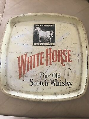 White Horse Old Scotch Whisky Drink Serving Tray Vintage Bar ware