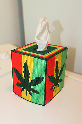 Tapestry RASTA Marajuana Mull leaf Design Tissue Box Cover - Unique - Handmade