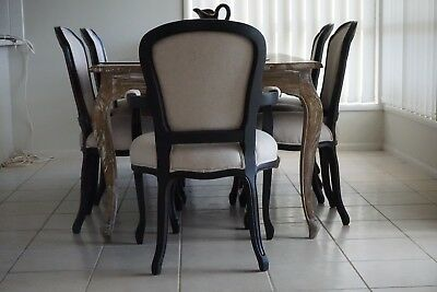 Antique style Queen Anne dining chairs set of 8- black & Cream