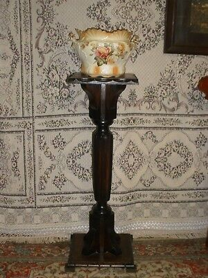 Vintage TURNED TIMBER COLUMN STAND Very Good Condition