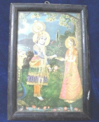Vintage Indian Hindu Goddess Lord Ram Blessing Sabri In Forest Print Wooden F