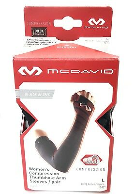 McDavid Women's Reflective Compression Thumbhole Arm Sleeves 6588RF/L/Blk/NIB!
