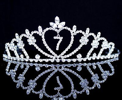 Janefashions Seven-Year-Old Rhinestone Tiara Crown W/ Hair Combs Girl 7th Party