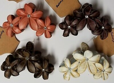 Lot Of 4 Hair Claw Jaw Clip Comb Clamp Holder Bow Bun Ivory Brown Beige Flower