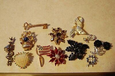 Lot Of 12 Vintage/Modern Brooches Pins Floral Rhinestones Trident Heart Key