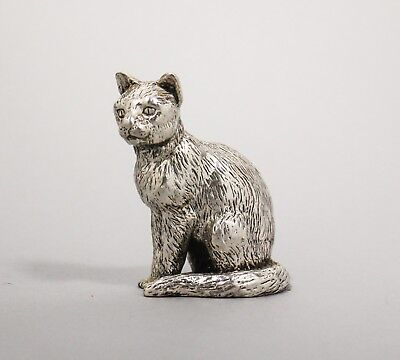 Royal Hampshire Art Foundry silver plate sitting cat figurine paperweight retro