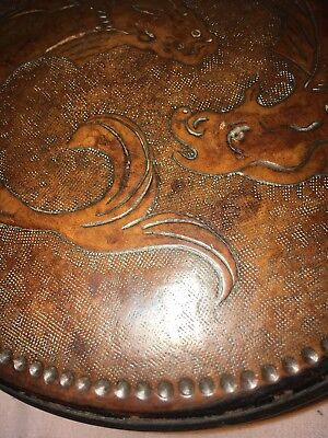 Antique Leather Box,Superb Example Of Circular Form And Raised Fish Decoration
