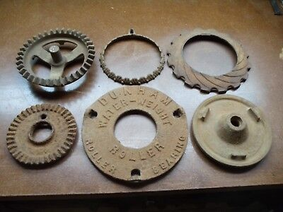 Lot Of 6 Antique / Vintage Cast Iron Gears & Misc.    0205-5