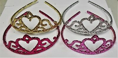 Lot Of 12 Glitter Princess Crowns Gold Silver Pink Party Favor Sparkle Costume