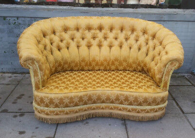 Antique Boudoir Chesterfield Two Seater Sofa ,gold Satin ,serpentine Love Seat