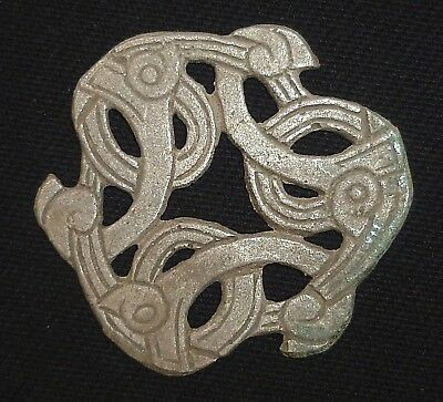 VIKING Ancient SILVER Amulet / Applique with Beasts Circa 700-900 AD       -A615