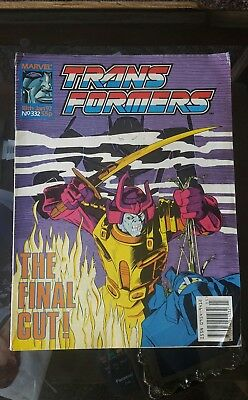 Transformers Comic #332 Marvel UK last issue low print fair condition
