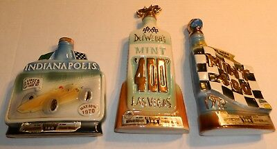 3 Jim Beam Decanters 1970 & 1972 Mint 400 Del Webb Desert Rally, 1970 Indy 500