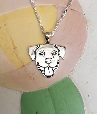 Smiling Pit Bull Sterling Silver Charm Necklace - New - FREE SHIPPING