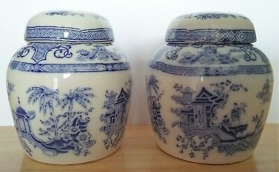 Vintage Chinese Porcelain Tree And Garden Design Ginger Pots With Lids (2)