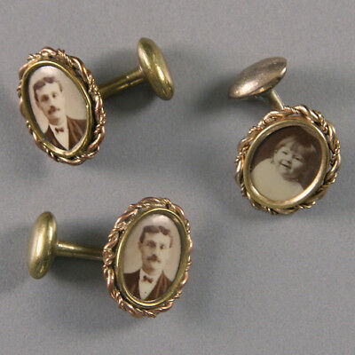Lot of 3 Antique Victorian Picture or Photo Cufflinks – 1 Pair & 1 Single