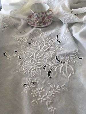 Antique Embroidered White Linen Tablecloth