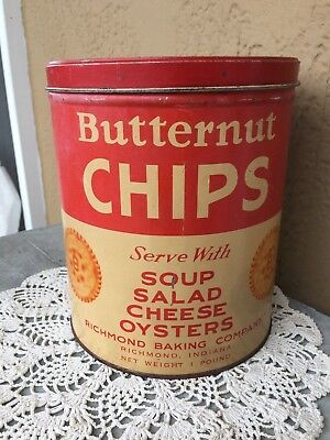 Vintage Butternut Chips Tin Metal Container All Purpose Crackers 1 Pound Empty
