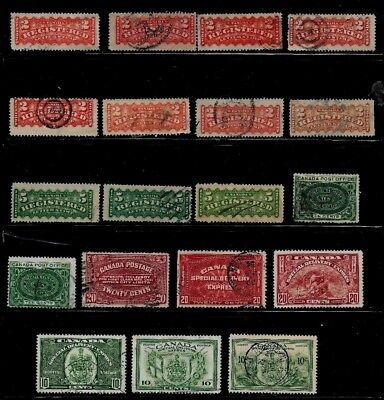 Canada Used F-Vf Lot Of Registration And Special Delivery With Shades