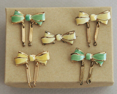 Lot of Vintage Enamel Bow Brooch Pins to Hold Lockets