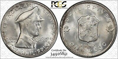 1947-S Philippines Silver Peso 'MacArthur' PCGS MS64