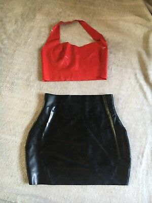 Ladies Latex Outfit Rubber Mini Skirt Halterneck Top Size Small 6 8