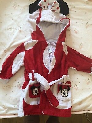 Baby Girls 6-9 Months Minnie Mouse Red Towel Robe Dressing Gown Hooded
