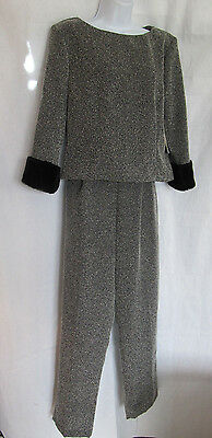 Susan Ross Design Ladies Black-Gray Top & Slacks Suit Size 10 NWT