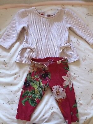 Baby Girls Ted Baker 3-6 Months Two Piece Floral Outfit Long Sleeved