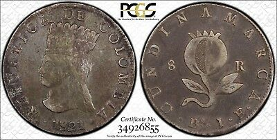 1821-Ba JF Colombia Silver 8 Reales 'Cundinamarca' PCGS XF40 2.1!