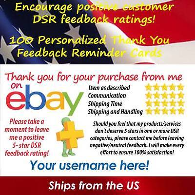 100 eBay CLASSIC DESIGN CUSTOM PRINTED DSR SELLER ID THANK YOU BUSINESS CARDS