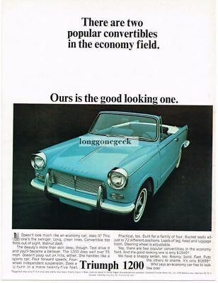 1964 Triumph 1200 Light Blue Convertible Vtg Print Ad