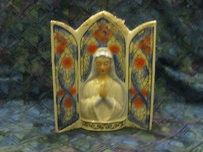 Vintage 1950's Wall Pocket - VIRGIN MARY With Stained Glass Background Design